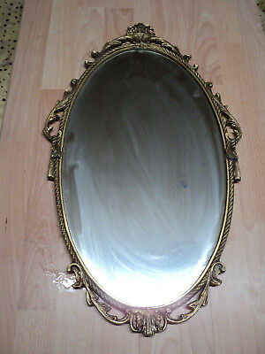 Large oval wall hung Gilt Frame Metal Mirror, Vintage ornate French style  26""
