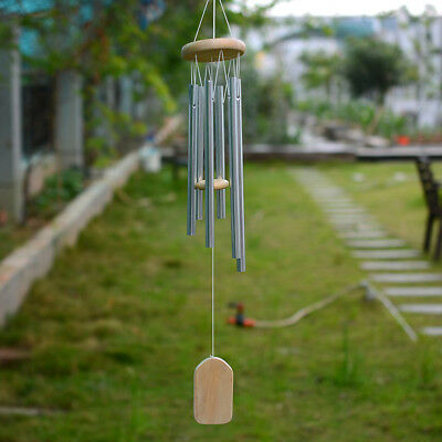 Large 6 Silver Tubes Woodstock Wind Chime Home Garden Yard Windbell Decor Gift