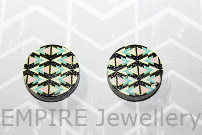 2 x Geometric Pattern #3 Wooden Laser Cut Flatback 16x16mm Cabochon Retro