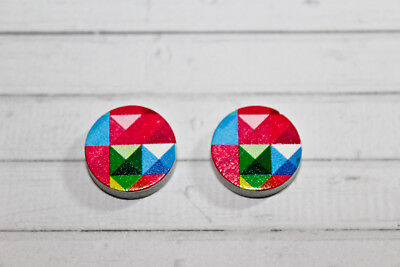 2 x Triangle Pattern #1 Wooden Laser Cut Flatback 16x16mm Cabochon Geometric