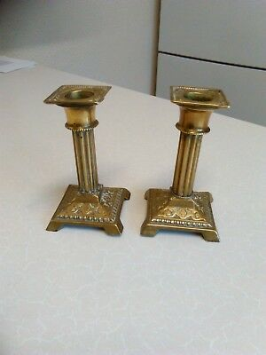 Pair of Small Brass Candlesticks with Reeded Columns - 11cm Tall (726)