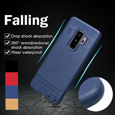 For Samsung Galaxy S9 Plus Note 9 Shockproof Rubber Leather TPU Back Case Cover