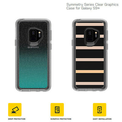 Otterbox Symmetry Samsung Galaxy S9+ S9 Plus Clear Case Aloha Ombre Stripe Bling