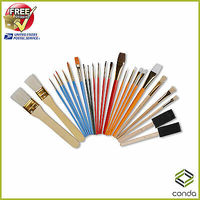 Paint Brush Set Professional Oil Acrylic Conda Chip Foam Sponge Brush 25 Pcs