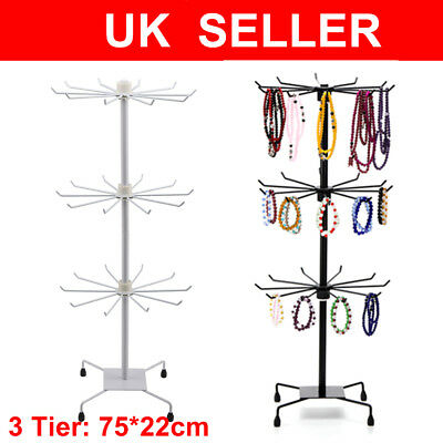 Rotating Iron 3-Tier Revolving Stand Rack Jewelry Mobile Keyring Display Stand