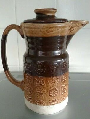 "Vintage Lord Nelson Pottery Coffee Pot, Retro Patterned Brown/Beige app.8"" tall."