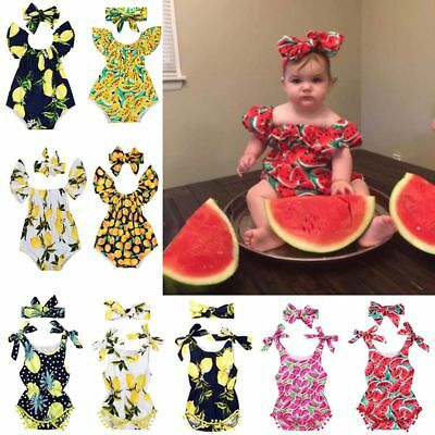 1Pc Summer Baby Girls Outfits Fruit Printing Romper Crawling Suit Hair band Set