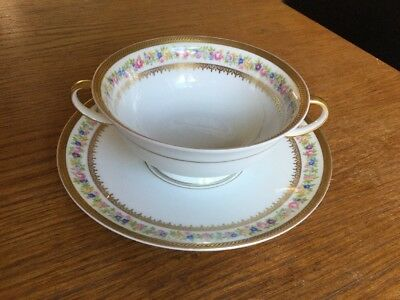 """Rosenthal """"Classic rose"""" German Porcelain Soup Bowl With Plate Beautiful Design!"""