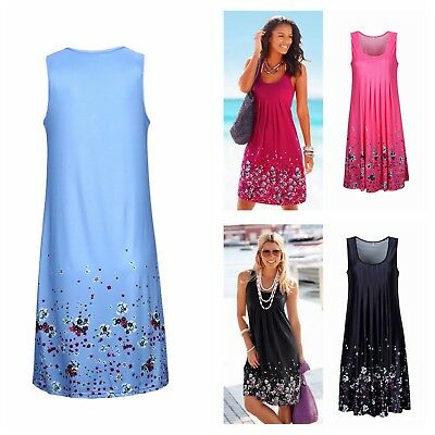 6e674bd6a340 Womens Sundress Floral Midi Length Summer Evening Cocktail Party Beach Dress  New