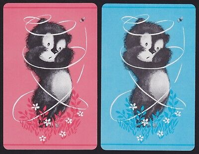 2 Single VINTAGE Swap/Playing Cards ANIMALS BEAR CUB + BUZZY BEE