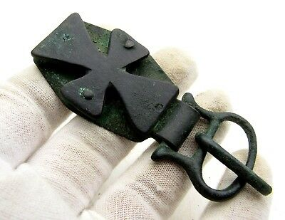 Roman Bronze Belt Buckle W/ Cross - Ancient Artifact Rare - D573