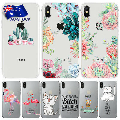 Phone Case For Apple iPhone X/10 Cactus Thin TPU Case Cover + Screen Protector