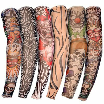 6Pcs Outdoor Skin Arm tattoo Sleeve Cooling Cover protective Stretch Armband DE
