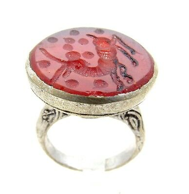 Post Medieval Silver Ring With Carved Intaglio Carnelian Stone Script - D594
