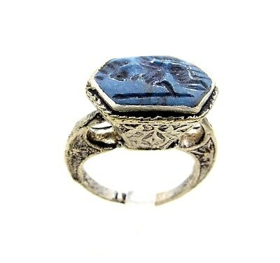 Post Medieval Silver Ring W/ Carved Intaglio Lapis Lazuli  - Wearable  D595