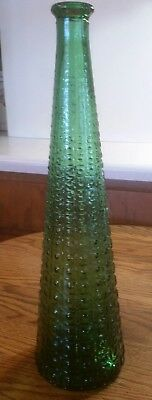 "Vintage Mid Century Empoli Green Italian Glass Decanter ~ Bottle 16"" Tall *EUC*"