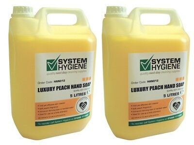2 x System Hygiene Luxury Peach Liquid Hand Soap and Body Wash 5Ltr