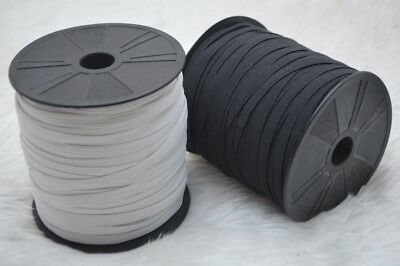 """Elastic Black & White 6mm Flat 8 Cord Stretch 1/4"""" Wide Sewing 10 Metres Each"""