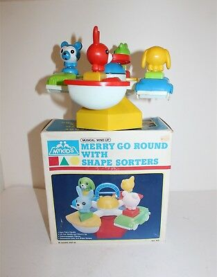 My Kids Merry Go Round With Shape Sorters Wind Up Toy 1985 Original Box