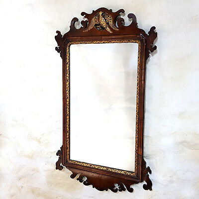 George III Hoho Bird Fretwork Walnut & Parcel Gilt Wall Mirror C19th (Georgian)