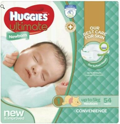 Huggies Ultimate Nappies - Newborn (up to 5kg) (54 pack)