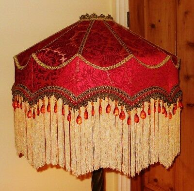 """Duchess, A  Victorian Beaded Standard Lampshade.  Red & Gold Chenille  22"""""""