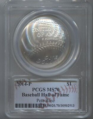 2014 Baseball Hall of Fame Proof Silver Dollar PCGS MS 70 - PETE ROSE SIGNATURE!