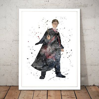 Harry Potter Wizard Watercolour Nursery Decor Art Poster Print A4 - XL