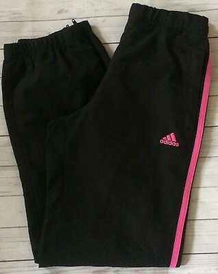 Girls Adidas Track Suit Trousers Age 11-12 Jogging Bottoms Black Pink 3 Stripes