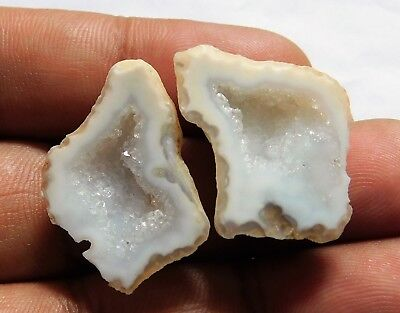 40.20 Cts Natural Agate Druzy (28mm X 20mm Each Approx.) Match Pair
