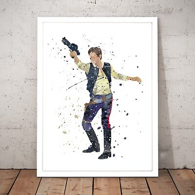 Star Wars Han Solo Watercolour Nursery Decor Art Poster Print - A4 to A0 Framed