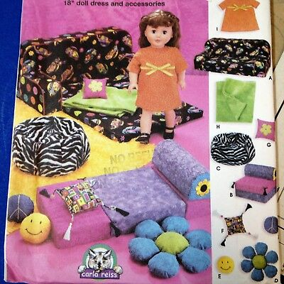 """18"""" Doll Dress & Accessories - Simplicity 5272, New Factory Folded Uncut Pattern"""