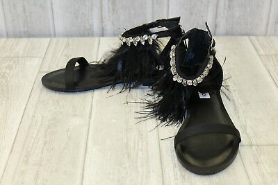 3cc2e8a07bb47 Steve Madden Adore Feather Embellished Flat Sandals, Women's Size 7.5M Black  NEW