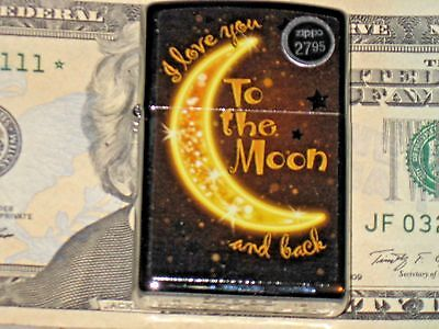 New Windproof Flame Zippo Lighter USA I Love to the Moon & Back HP Chrome Case