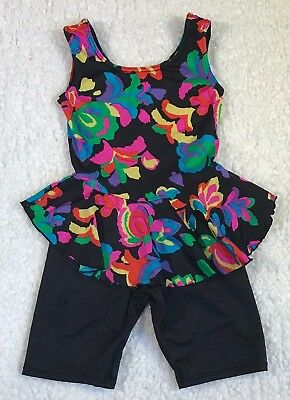 Danielle & Co 80's Kids Leotard One Piece Spandex Neon Black Dance Suit