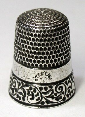 Antique Simons Brothers Sterling Silver Thimble Chased Running Scrolls