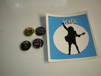 Ac/dc Button Lot Of 4 1984-1988 W/vintage 80's Sticker Angus Young