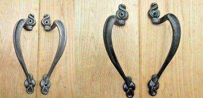 Pair of  ART NOUVEAU cast iron door pull handles old french vintage rustic