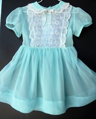 Lovely Vintage 1950's Sheer Toddler Turquiose Girls Party Dress Size 4-5