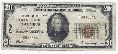 $20.00 Circulated 1929 NATIONAL BANK NOTE Columbus, OH. Type 1 Charter # 7745