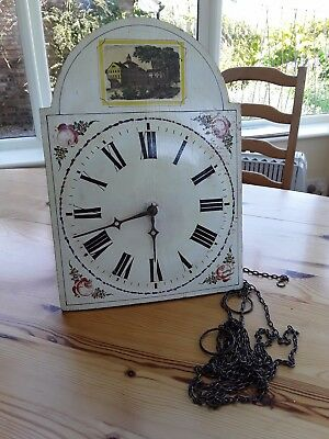 Antique painted clock face with housing for mechanism & chains for weights