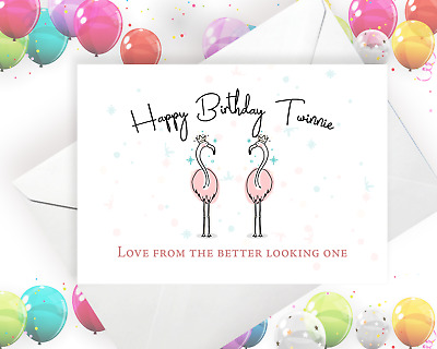 Twins Birthday Card To Twin Birthday Cards Funny Cards Flamingo