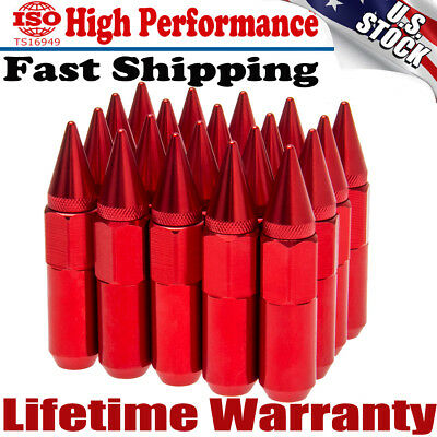 Hot 20X M12X1.5 Cap Spiked Extended Tuner 60mm Aluminum Wheels Rims Lug Nuts Red