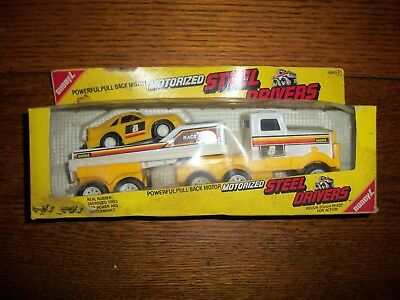 Vintage Buddy L Toys Motorized Steel Drivers Race Car and Car Hauler in Box