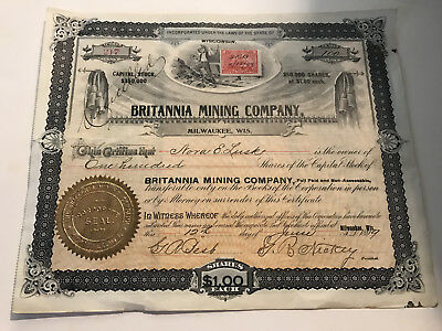1899 Stock Certificate Britannia Mining Company Wisconsin w/ stamp