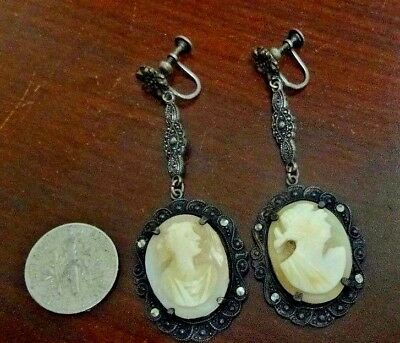 Beautiful Pair of Antique Victorian Sterling Silver Cameo Screw Back Earrings.
