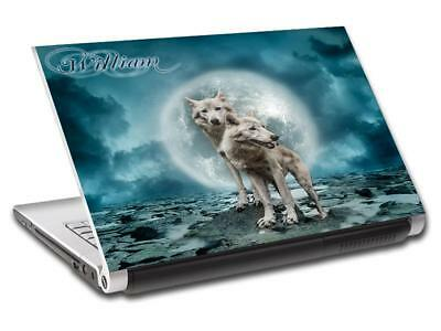 White Wolves Full Moon Personalized LAPTOP Skin Cover Decal Vinyl Sticker L785