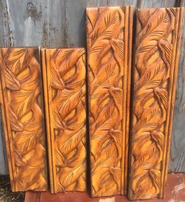 "4 Vtg Wood Architectural Salvage Carved Pediments Molding 2-21.25"" 2-17.5"" Long"