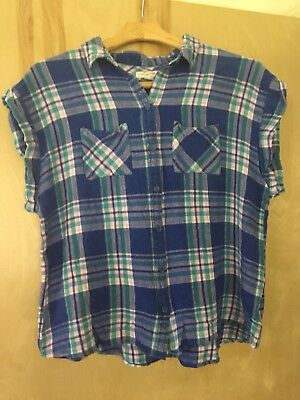 273e55af07 BEACH LUNCH LOUNGE Plaid Flannel Sleeveless Shirt Blue Pink Sz M/L ...