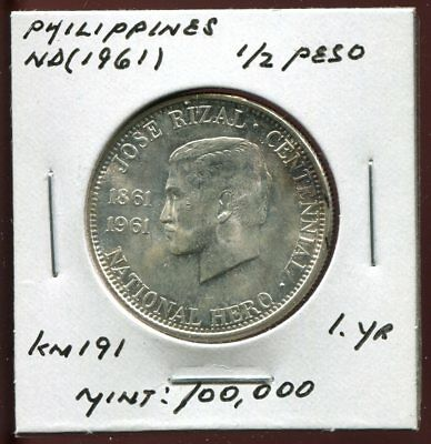 * Philippines Nd(1961) 1/2 Peso Silver..... Scarce Minted 100 K. *